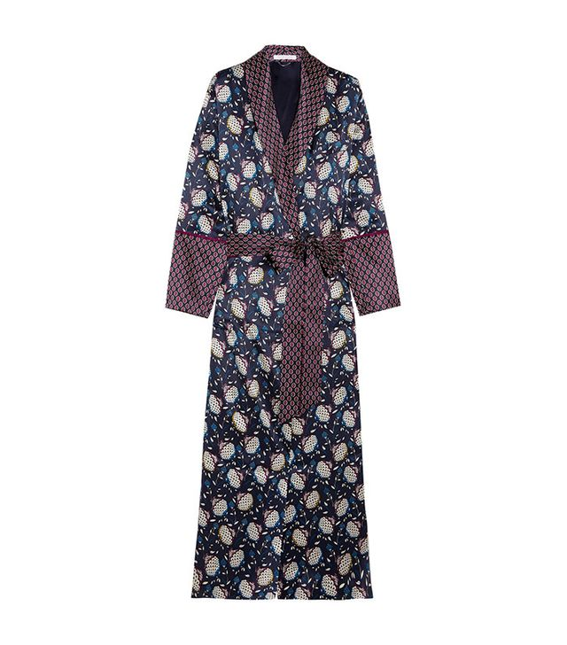 Olivia von Halle Capability Soumaya Printed Silk-satin Robe