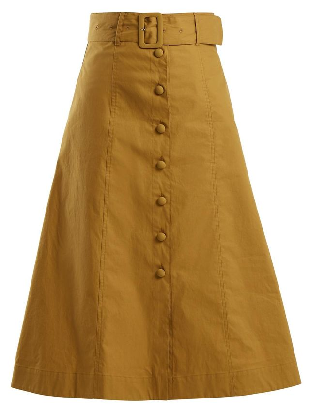 Belted A-Line Cotton-Blend Midi Skirt