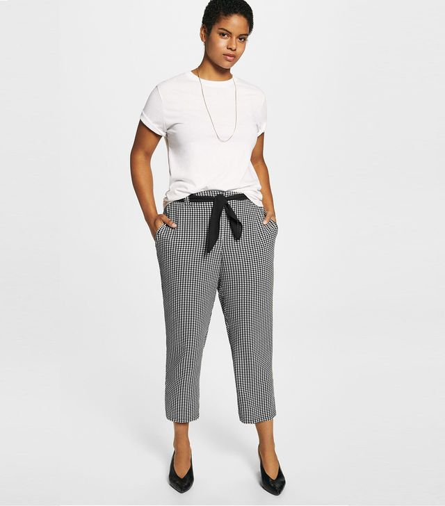 Violeta by Mango Gingham Check Pattern Trousers