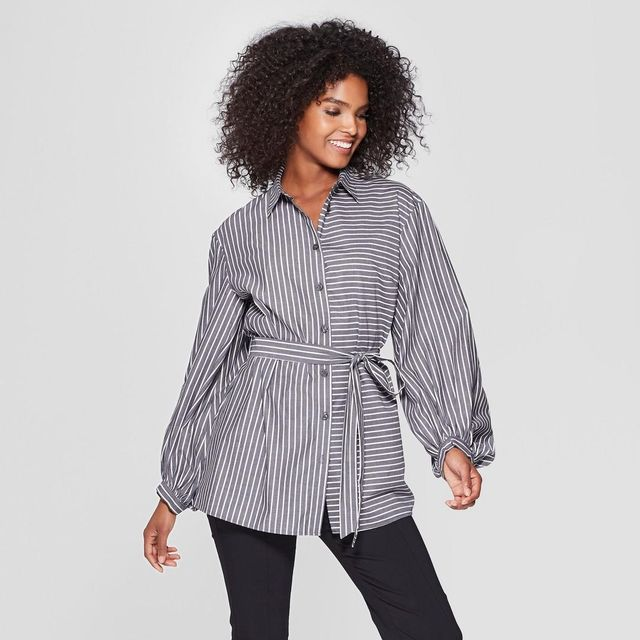 Who What Wear Long Sleeve Nouveau Button-Up Tunic