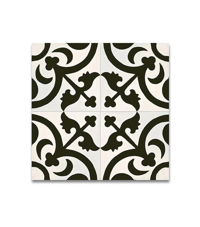 Moroccan Mosaic Pack of 12 Nador Black and White Cement and Granite Tiles