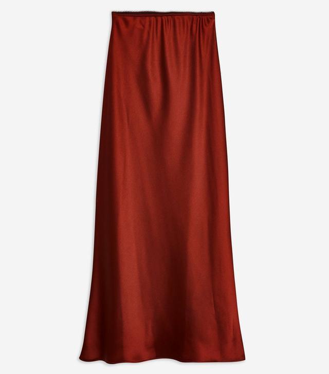 Topshop Satin Bias Cut Midi Skirt