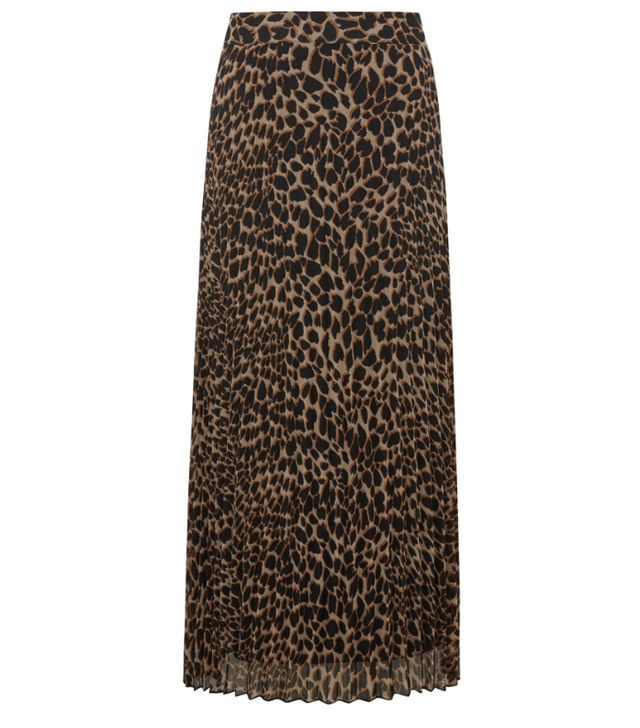 Warehouse Leopard Pleated Midi Skirt