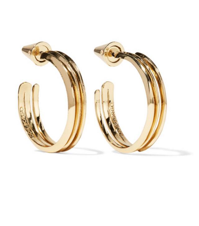 Jeanne Damas Style: Eddie Borgo Trace Gold-Plated Hoop Earrings