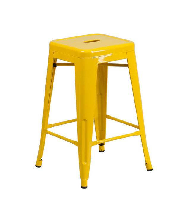 Yellow Tolix stool — apartment kitchen ideas