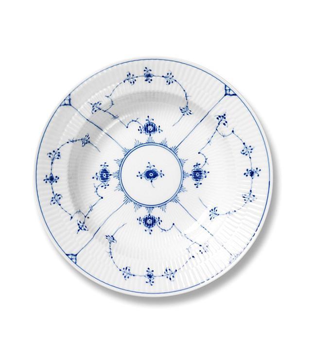 """""""Blue Fluted Plain"""" Rim Soup Plate"""