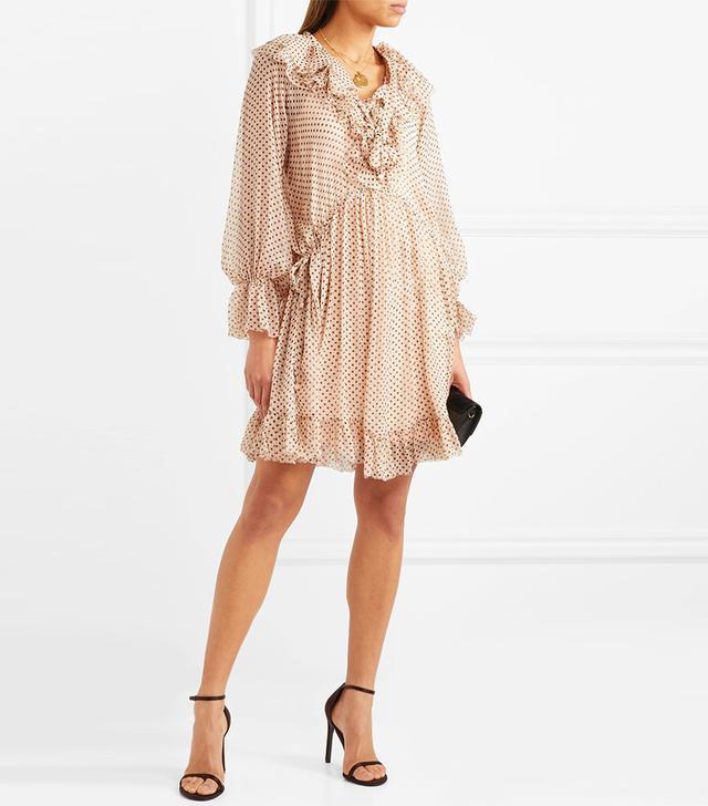 Ruffled Polka-dot Silk-georgette Mini Dress