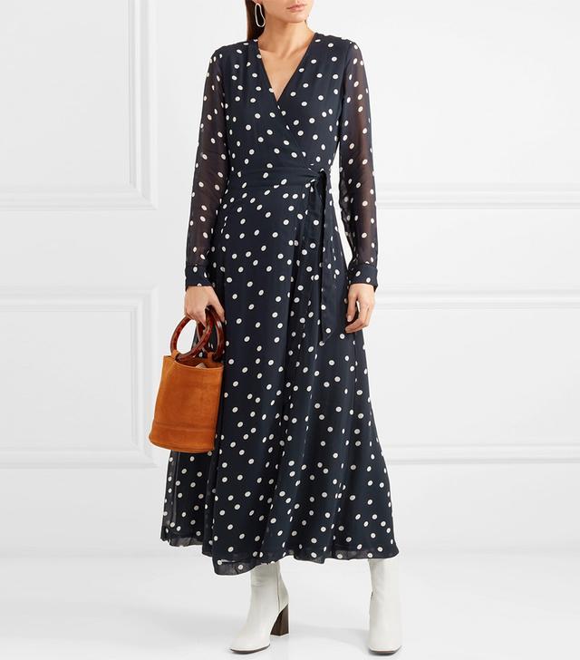 Polka-dot Chiffon Wrap Dress