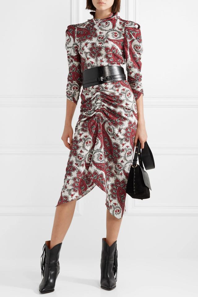 Baphir Pleated Printed Silk-crepon Dress