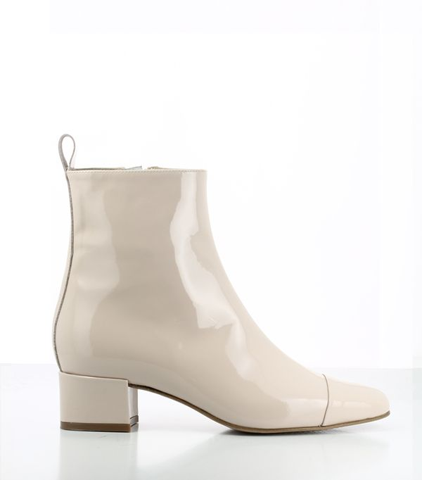 French fashion brands - Carel Estime Patent Leather Nude Boots