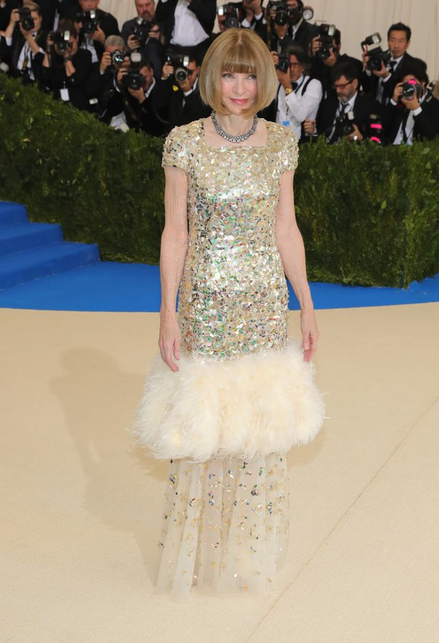 <p><strong>WHO:</strong> Anna Wintour</p> <p><strong>WEAR:</strong>Custom Chanel dress by Karl Lagerfeld inspired by the house's recent S/S 17 Haute Couture collection.</p>