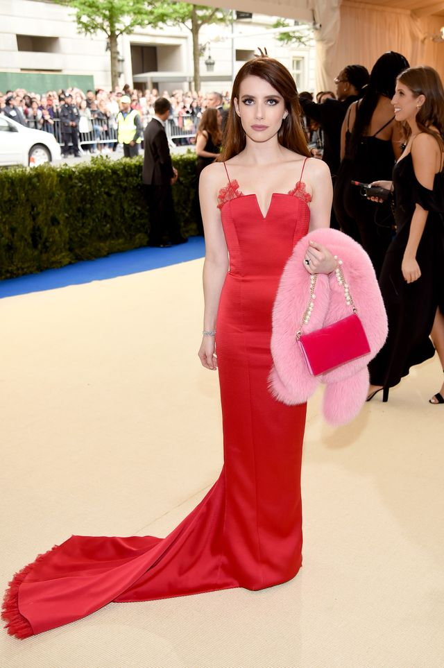 <p><strong>WHO:</strong> Emma Roberts</p> <p><strong>WEAR:</strong>Diane von Furstenbergdress cut from heavy hammered satin in lipstick red. Floral Chantilly lace in lipstick red is...