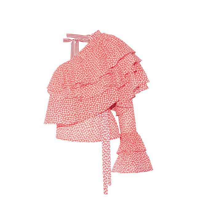 Rosie Assoulin One-Shoulder Ruffled Print Cotton-Gauze Top