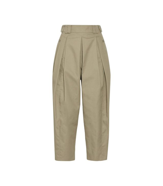 Alexander Wang Cropped Pleated Twill Tapered Pants