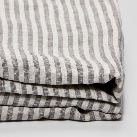 100% Linen Duvet Cover in Grey & White Stripe