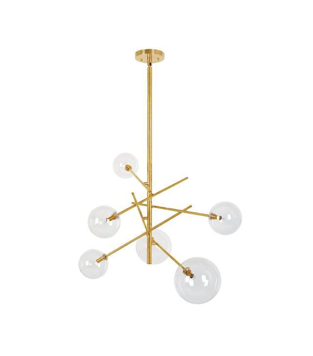 Beacon Lighting Aksel 6 Light Pendant in Brass/Clear