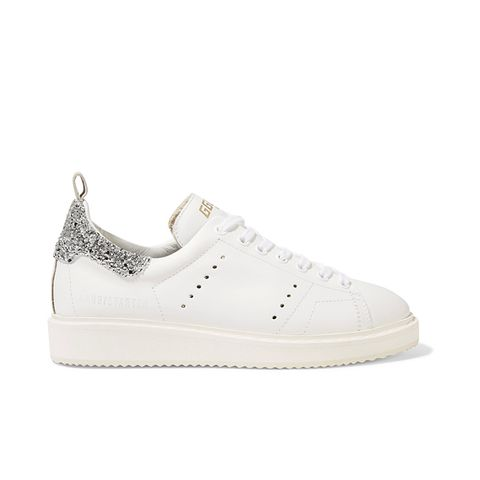 Starter Glitter-Trimmed Leather Sneakers