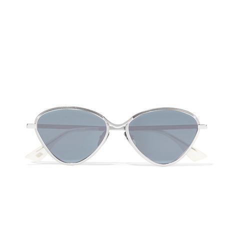 Bazaar Cat-Eye Silver-Tone Mirrored Sunglasses