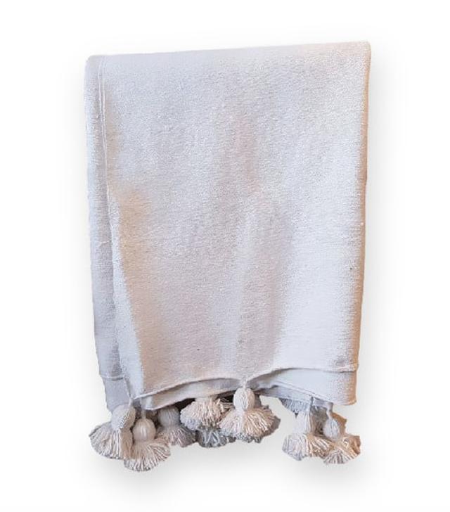 Beyond Berber White Moroccan Wool Pom Poms Blanket