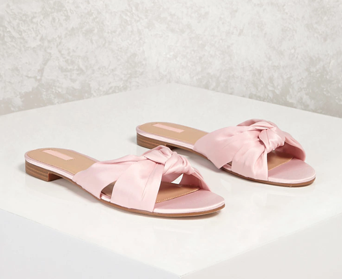 13cd7089f22 Shop the Shoes. Pinterest · Shop · Forever 21 Knotted Satin Slides ...