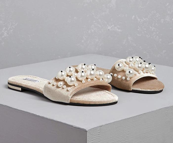 66a7f79afd6 Pinterest · Shop · Forever 21 Faux Pearl Velvet Slide Sandals ...