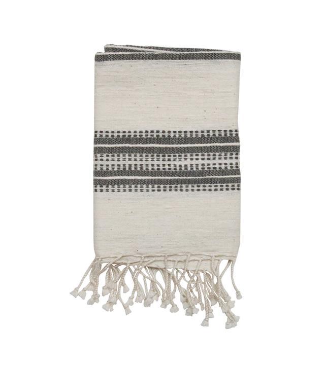 Amber Interiors Natural Grey Stripes Hand Towel