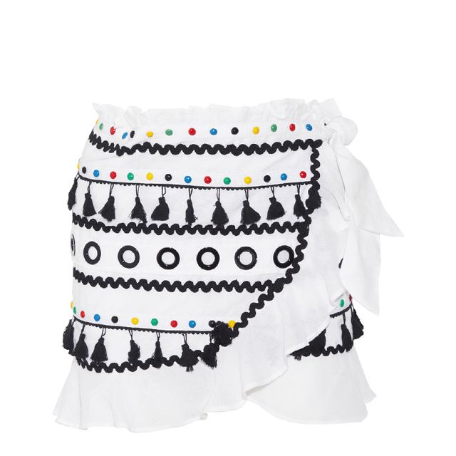 Abigail Embellished Cotton-gauze Wrap Mini Skirt