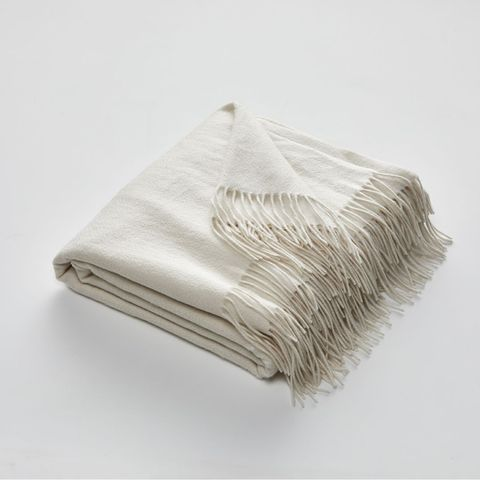 Fringed Cashmere Throw Rug in Ecru