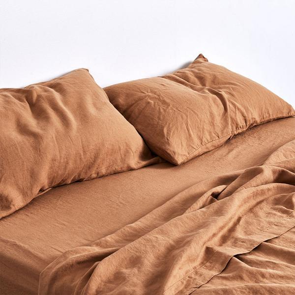 In Bed 100% Linen Flat Sheet in Clay