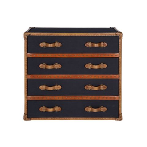 Vintage Leather & Black Fabric 4-Drawer Chest