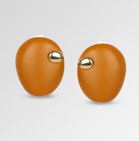 Dinosaur Designs Resin Stone Button Earrings