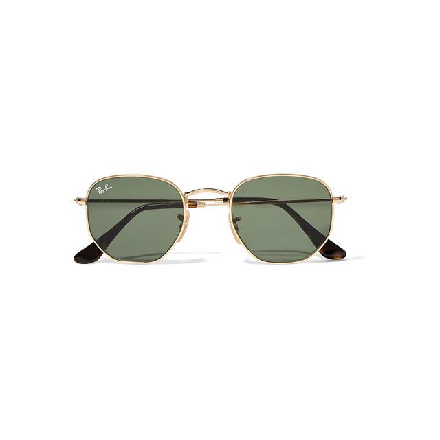 Ray-Ban Hexagonal-Frame Gold-Tone Sunglasses