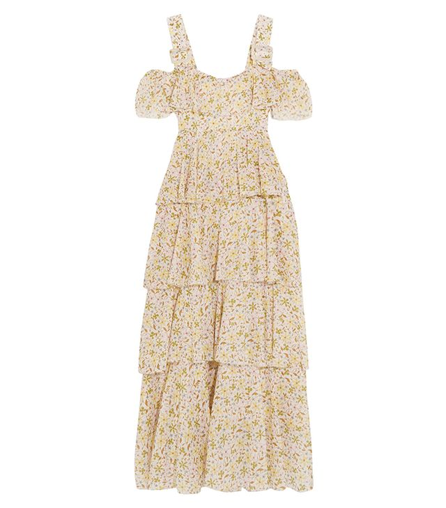 Cold-shoulder Tiered Floral-print Cotton-voile Dress