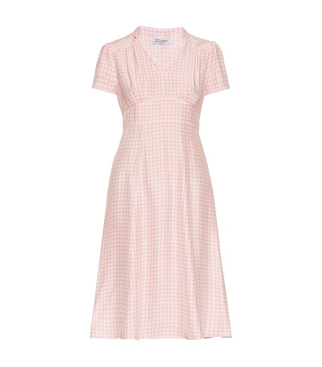Morgan gingham short-sleeved dress