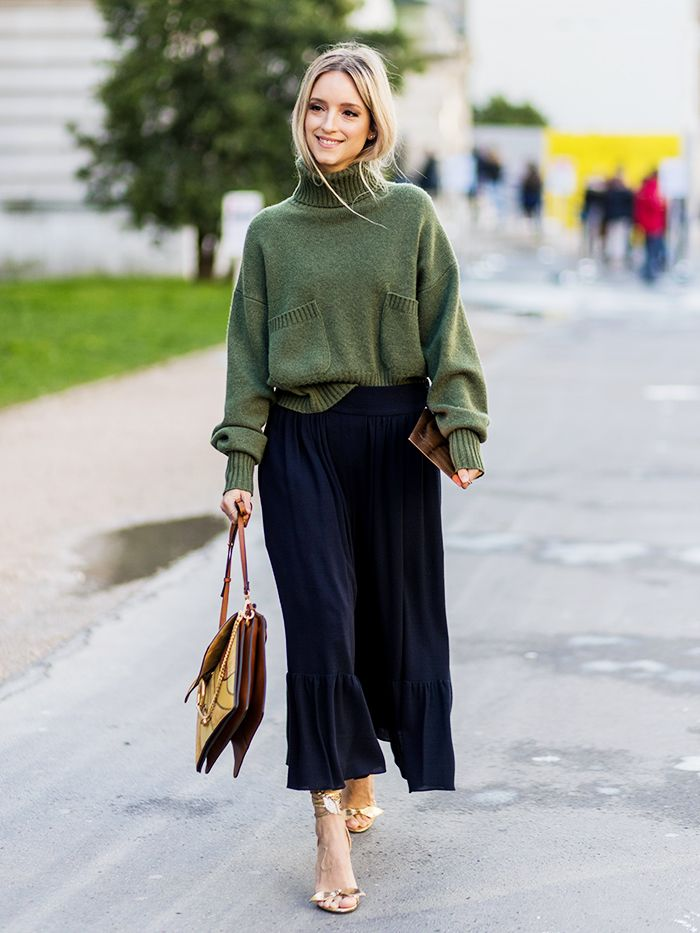 How to Do the Jumper,and,Midi,Skirt Trend