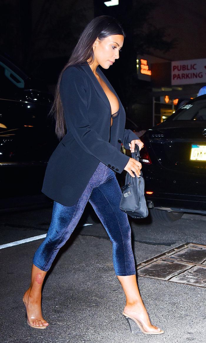 Kim Kardashian West Wears Velvet Leggings