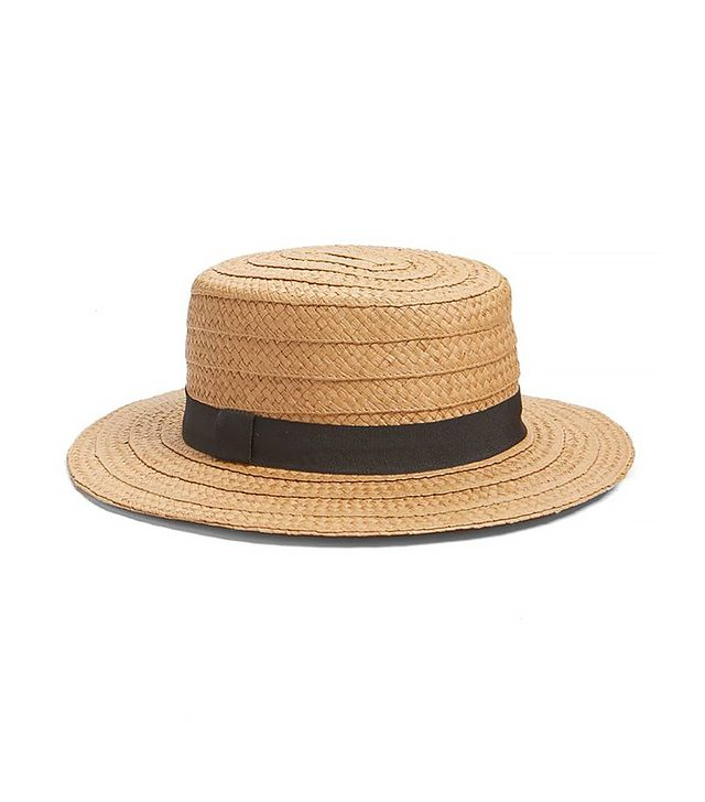Straw Boater Hat in Brown