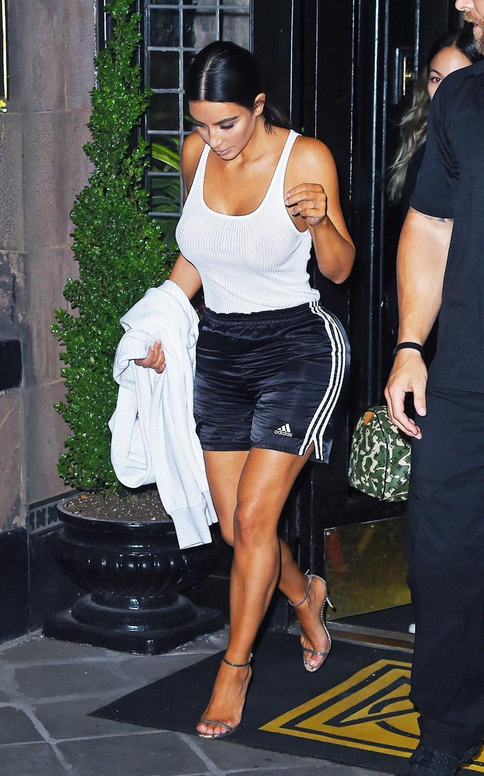 3d095988ff036 Kim Kardashian Wears Adidas Shorts and Tank | Who What Wear
