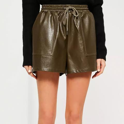 Khaki Faux Leather Utility Shorts