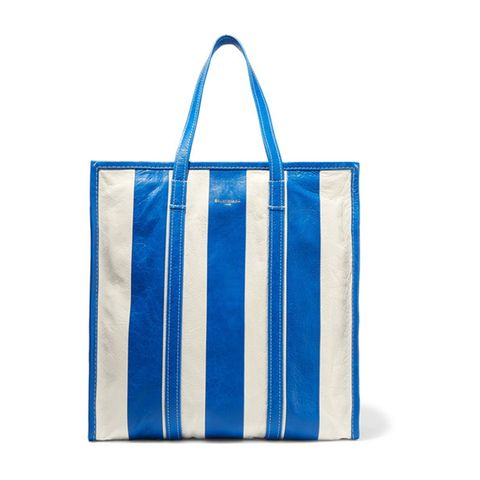Bazar Large Striped Textured-Leather Tote