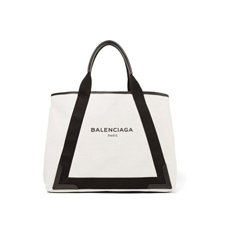 Cabas Leather-Trimmed Canvas Tote