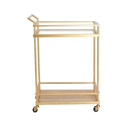 Tall Mid-Century Brass-Toned Bar Cart