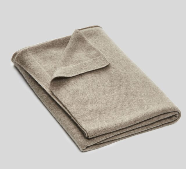 In Bed Cashmere Throw Rug in Oatmeal