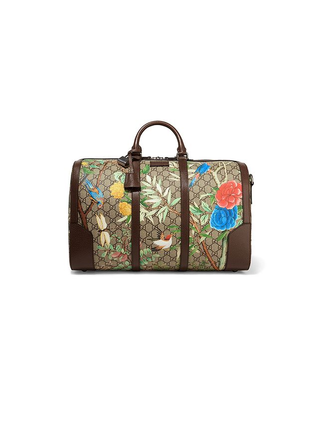 Gucci Leather-trimmed coated-canvas weekend bag