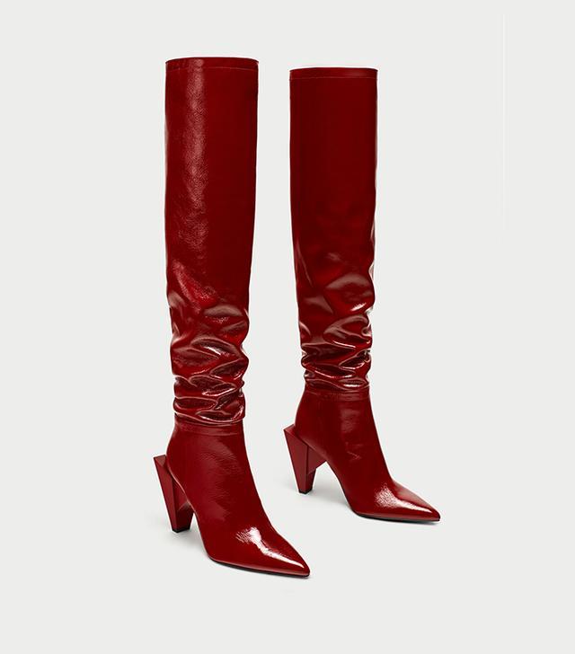 Zara Patent Leather High Heel Boots