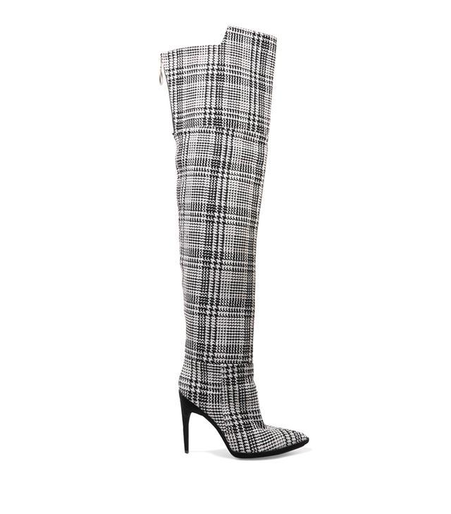 Tartan Textured-knit Over-the-knee Boots