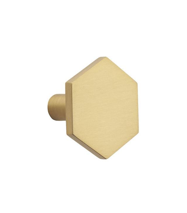 CB2 Hex Brushed Brass Drawer Pull