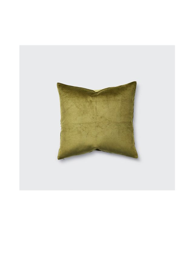 In Bed Square Corduroy Cushion in Olive