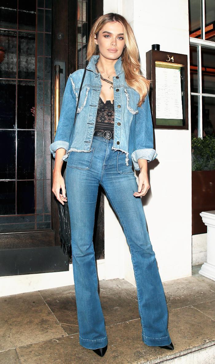 Wear celebs wide leg jeans exclusive photo