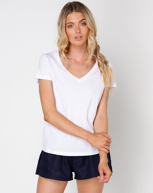 Nude Lucy Evie V-Neck Tee in White